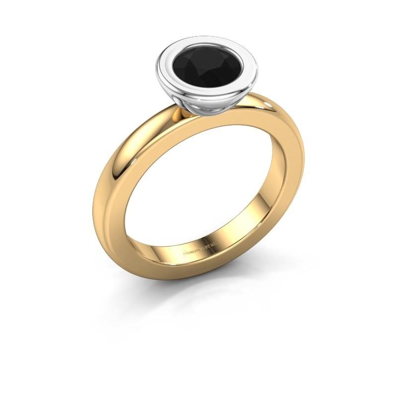 Stapelring Eloise Round 585 goud zwarte diamant 0.96 crt