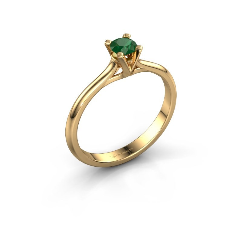 Verlovingsring Isa 1 375 goud smaragd 4 mm
