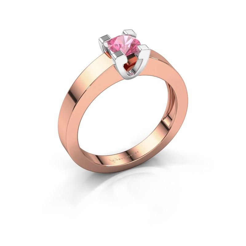 Promise ring Anne 1 585 rosé goud roze saffier 4.7 mm