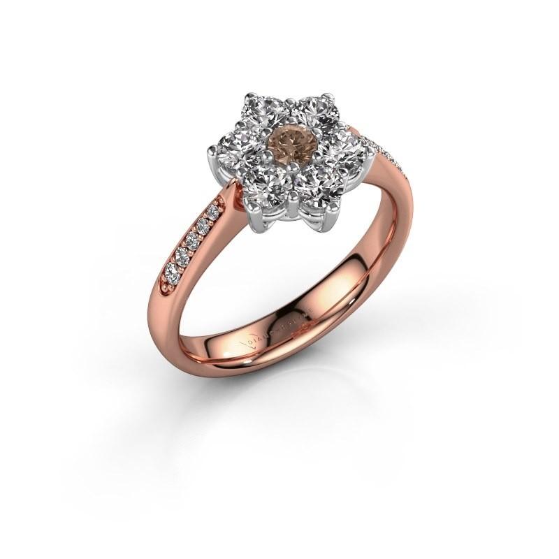 Verlovingsring Chantal 2 585 rosé goud bruine diamant 0.10 crt