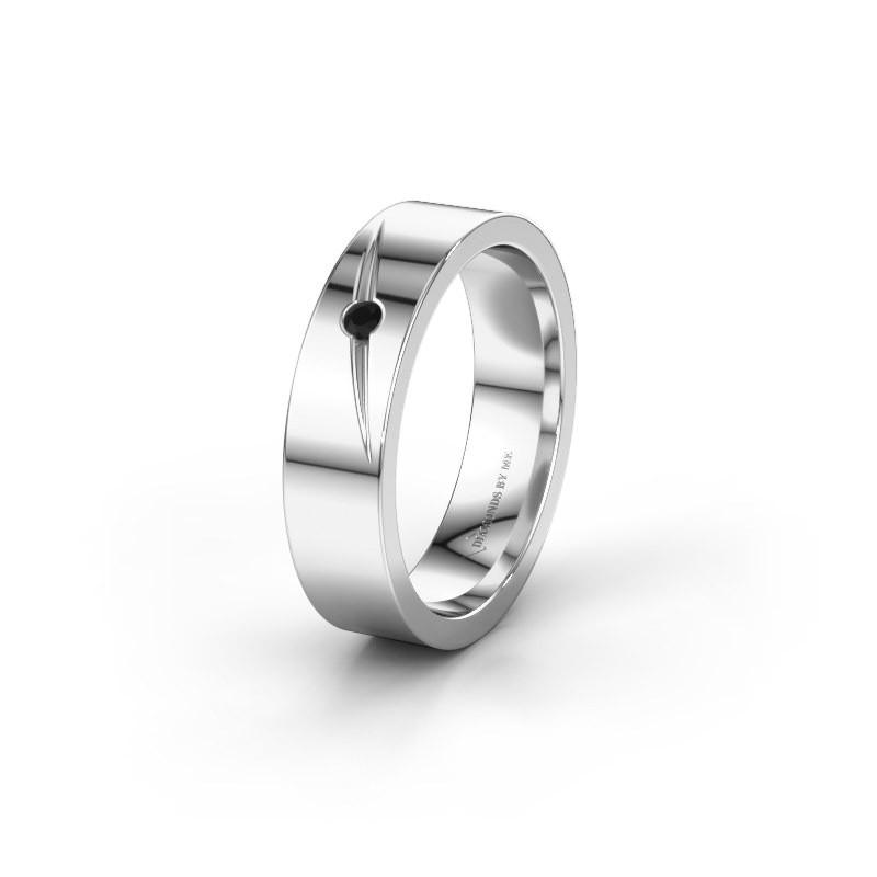Trouwring WH0170L15A 585 witgoud zwarte diamant ±5x1.7 mm