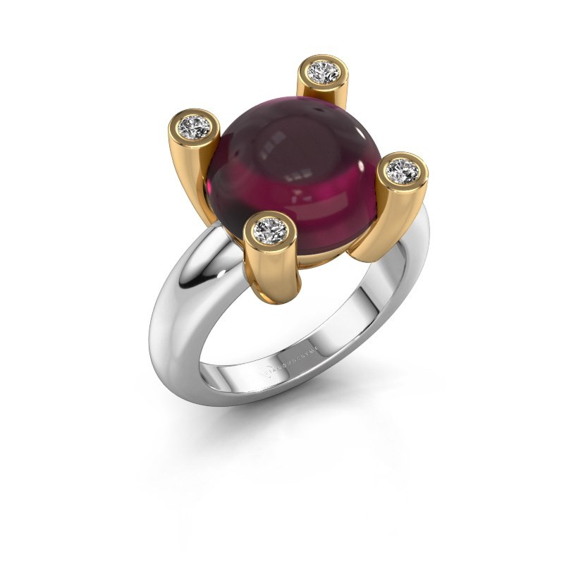 Ring Janice RND 585 witgoud rhodoliet 12 mm