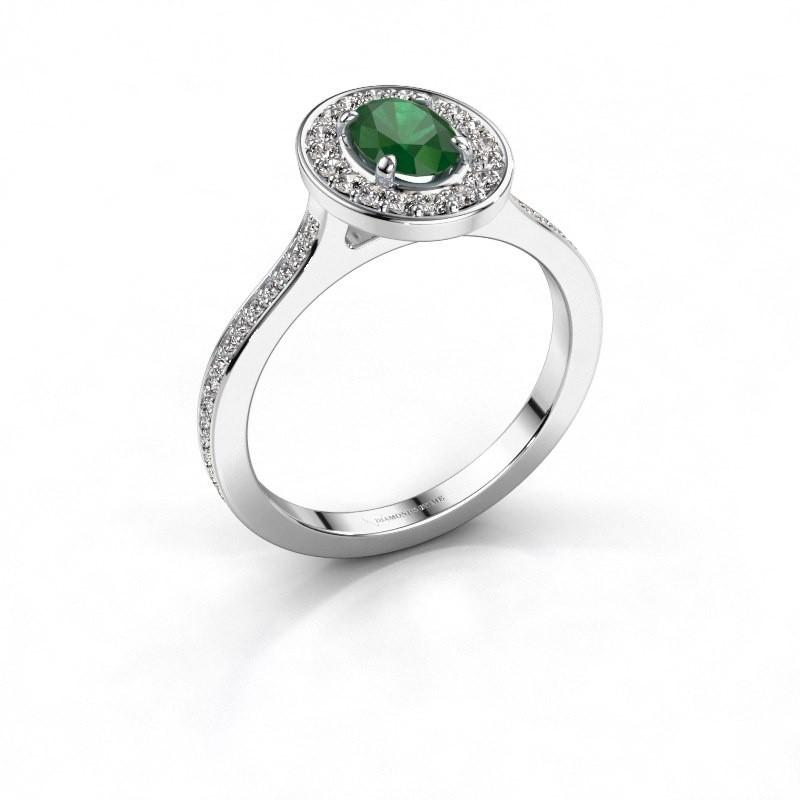 Ring Madelon 2 585 witgoud smaragd 7x5 mm