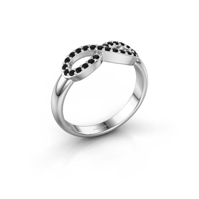 Ring Infinity 2 925 zilver zwarte diamant 0.225 crt