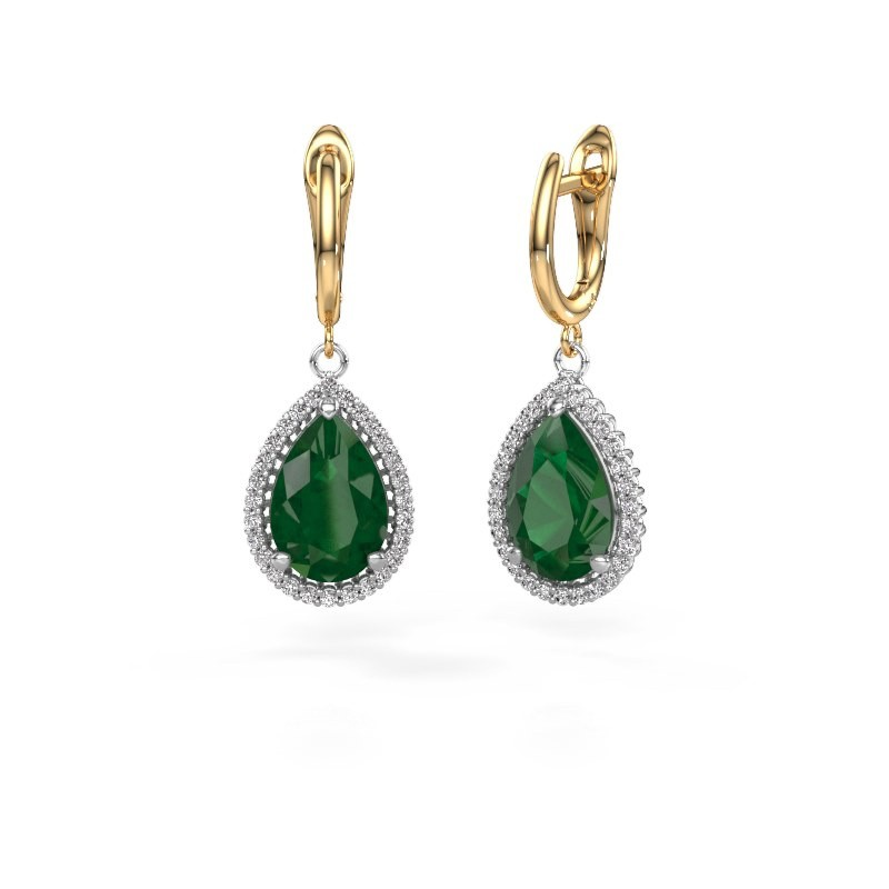 Drop earrings Hana 1 585 white gold emerald 12x8 mm