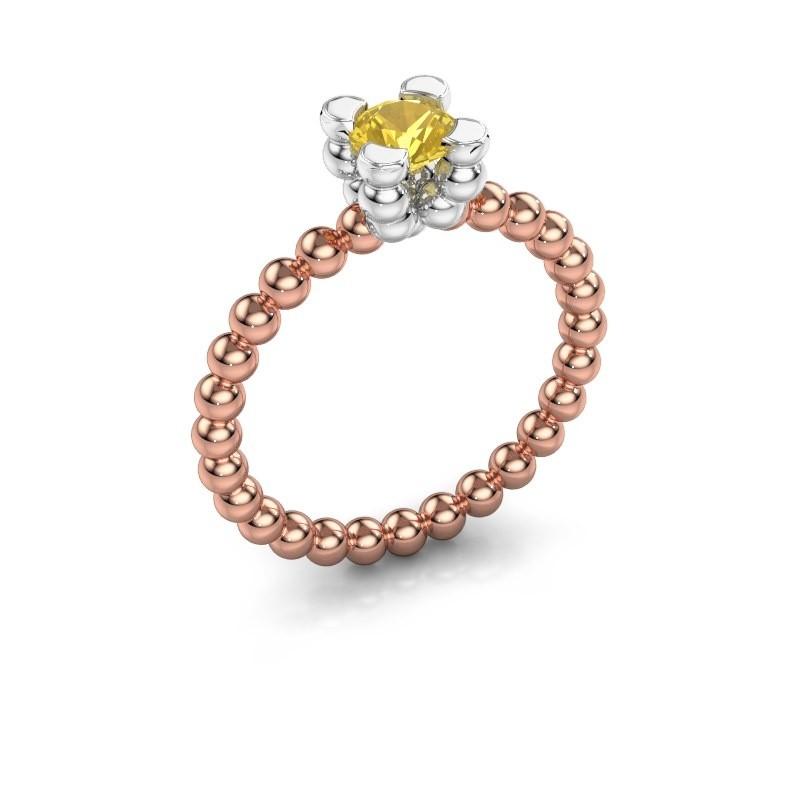 Ring Aurore 585 rosé goud gele saffier 5 mm