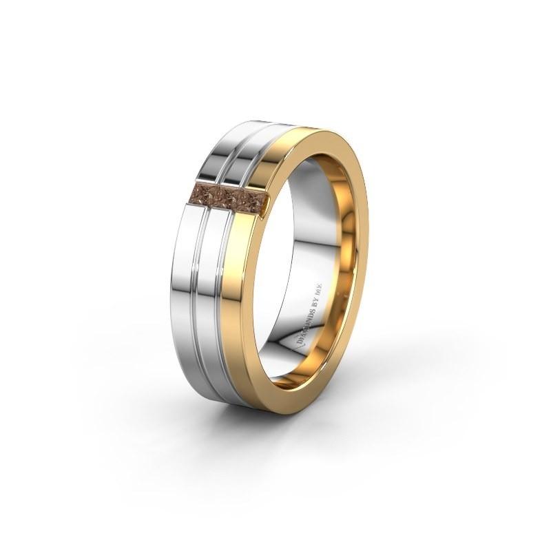 Wedding ring WH0428L16BP 585 gold brown diamond ±0.24x0.08 in