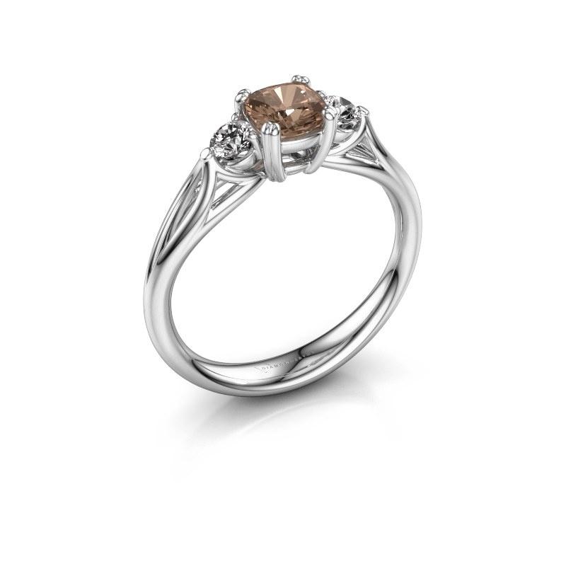 Verlovingsring Amie cus 925 zilver bruine diamant 0.70 crt