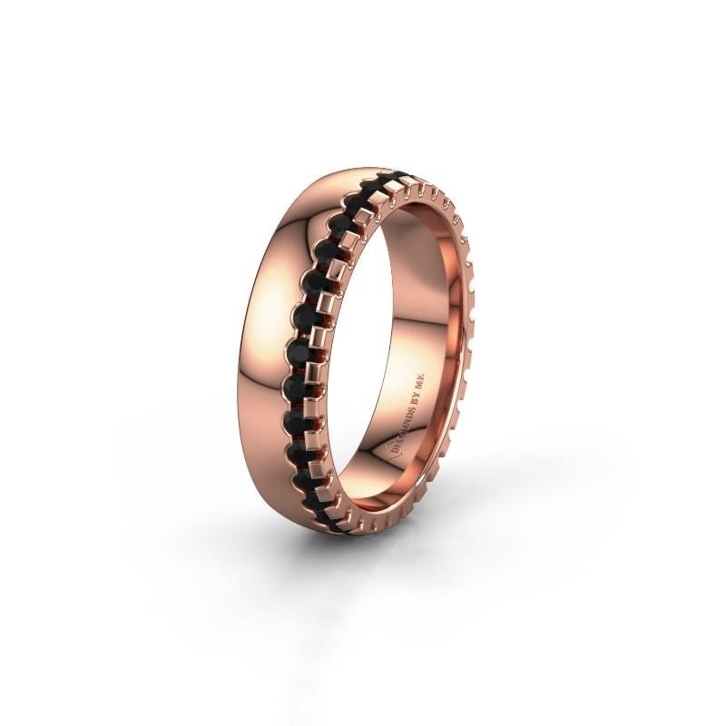Wedding ring WH6122L25B 375 rose gold black diamond ±5x2 mm
