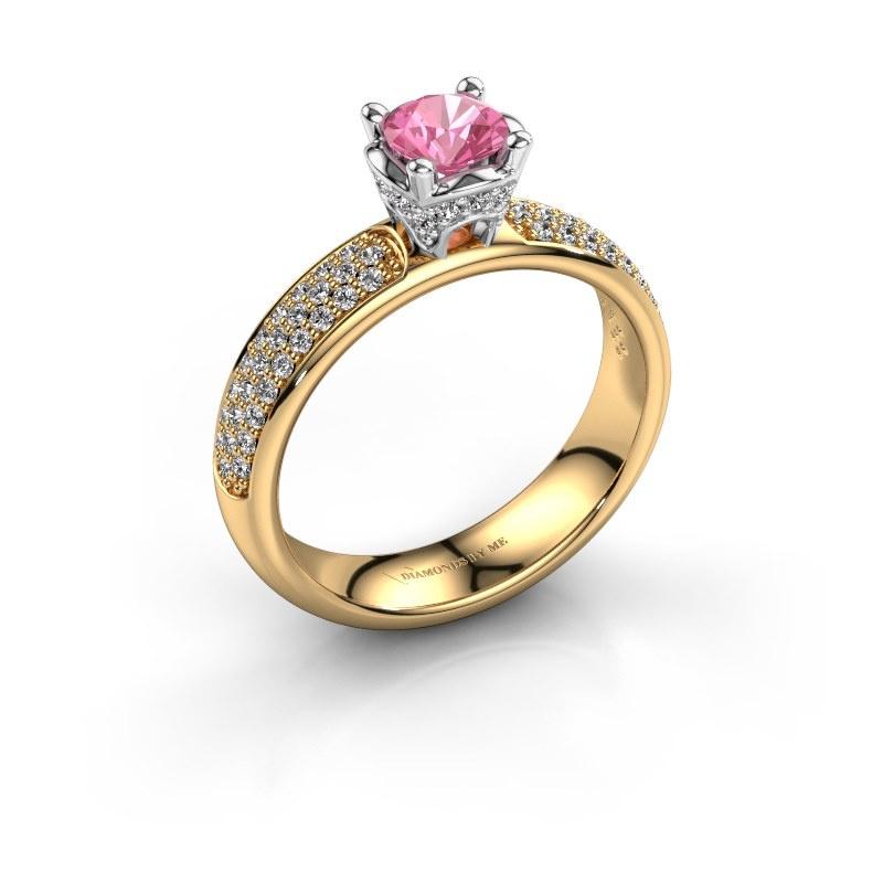 Aanzoeksring Ecrin 585 goud roze saffier 5 mm