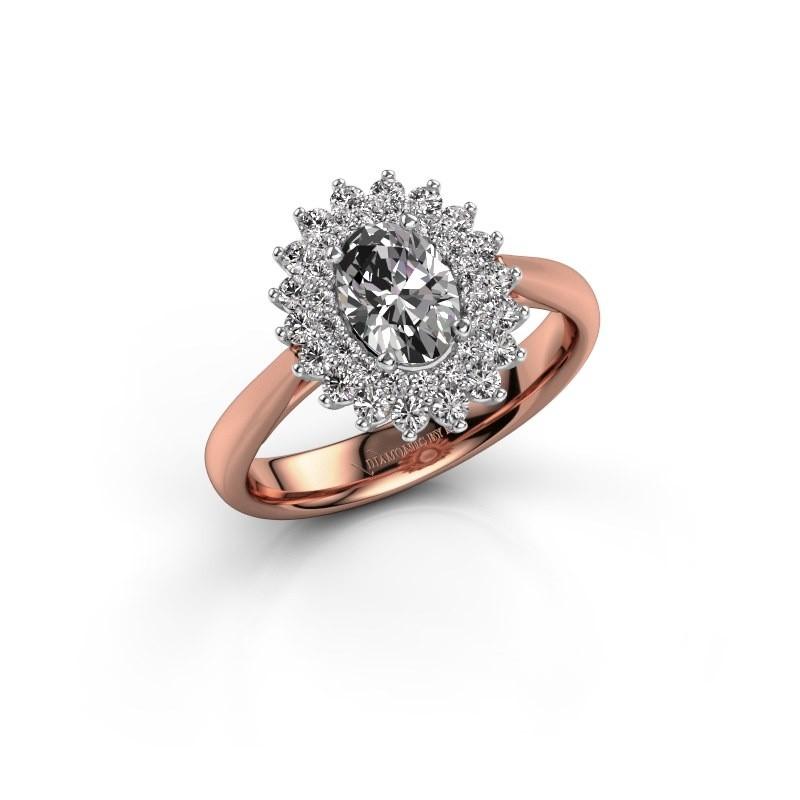 Engagement ring Alina 1 585 rose gold zirconia 7x5 mm