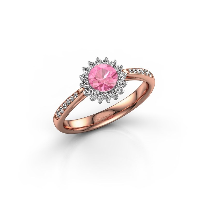 Engagement ring Tilly RND 2 585 rose gold pink sapphire 5 mm