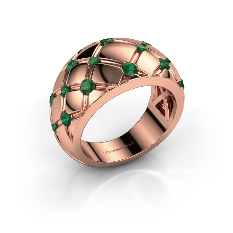 Ring Imke 375 Roségold Smaragd 2.5 mm