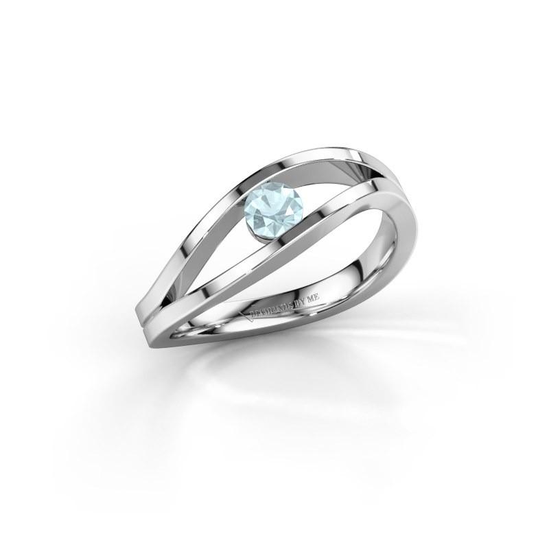Engagement ring Sigrid 1 585 white gold aquamarine 3.7 mm