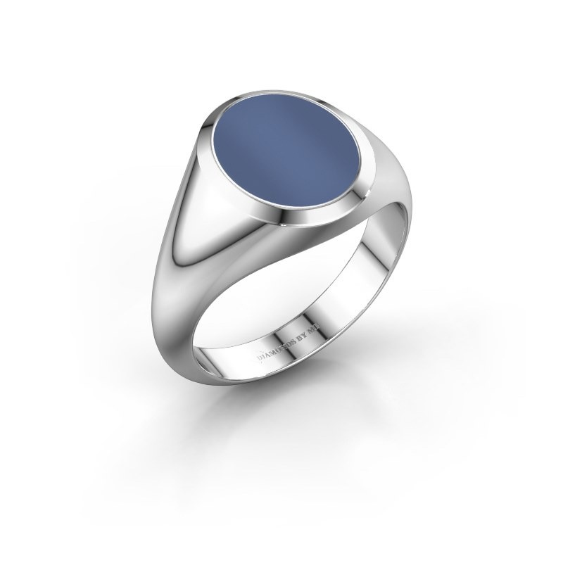 Zegelring Evon 2 375 witgoud blauw lagensteen 12x10 mm