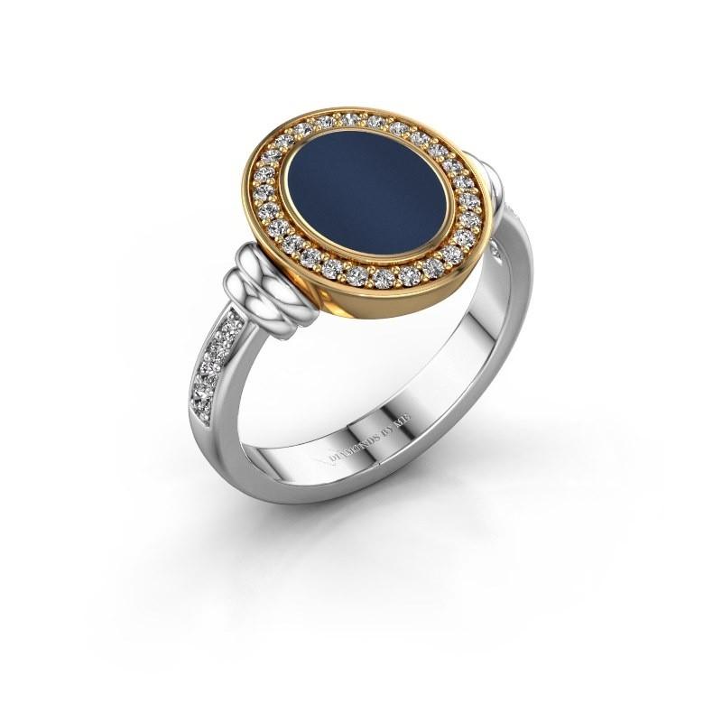 Zegelring Frido F 585 witgoud donker blauw lagensteen 10x8 mm