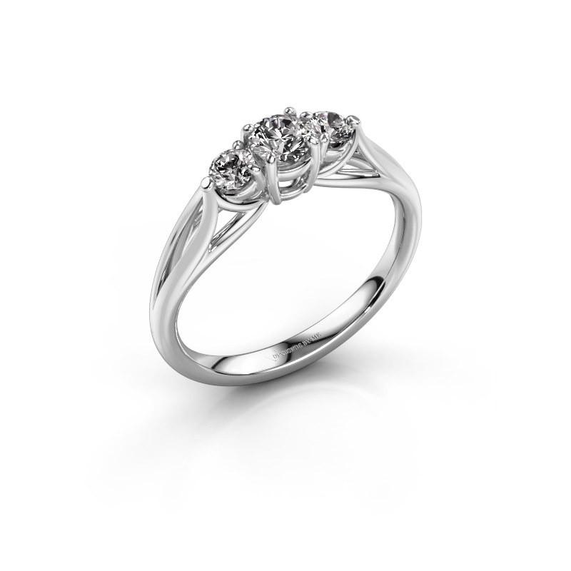 Bague de fiançailles Amie RND 585 or blanc diamant 0.45 crt