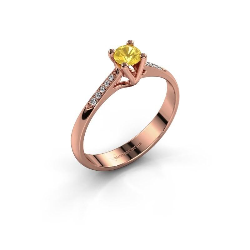 Promise ring Janna 2 375 rosé goud gele saffier 4 mm