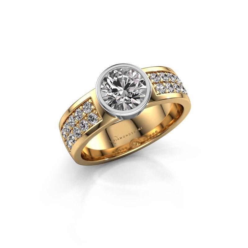 Engagement ring Ise 3 585 gold diamond 1.40 crt