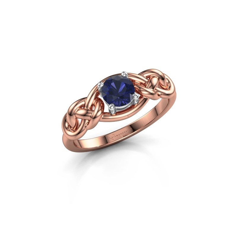Ring Zoe 585 rosé goud saffier 5 mm