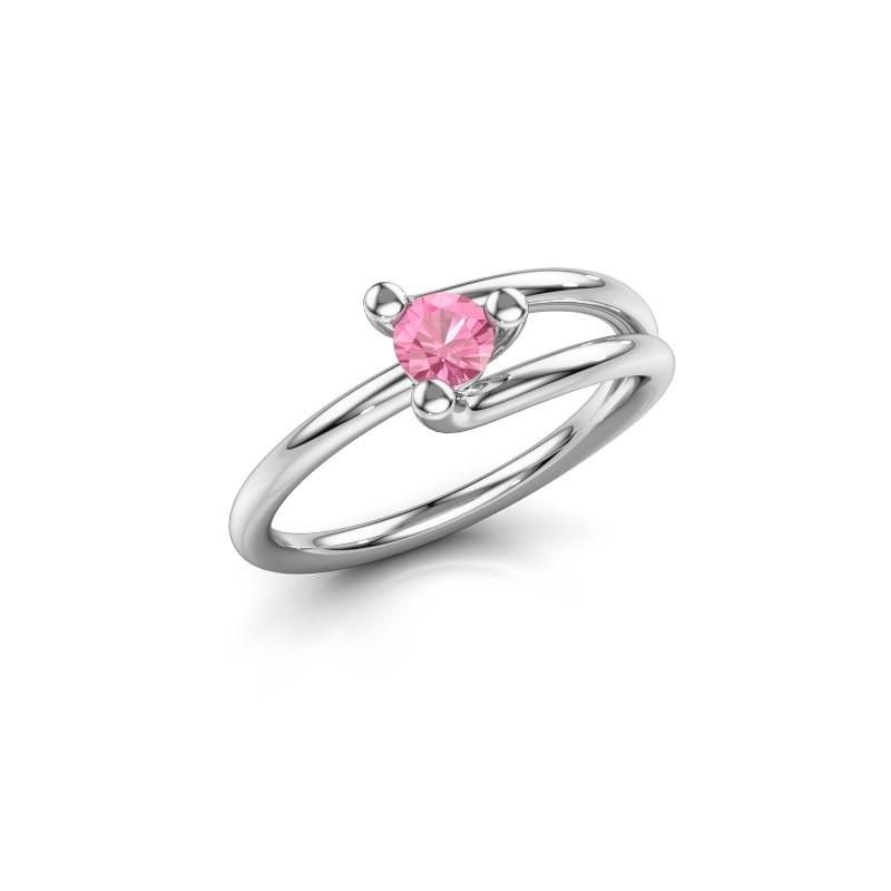 Engagement ring Roosmarijn 925 silver pink sapphire 4 mm