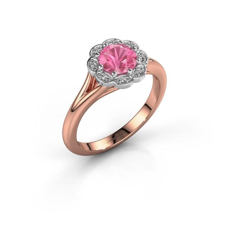 Aanzoeksring Claudine 585 rosé goud roze saffier 6 mm