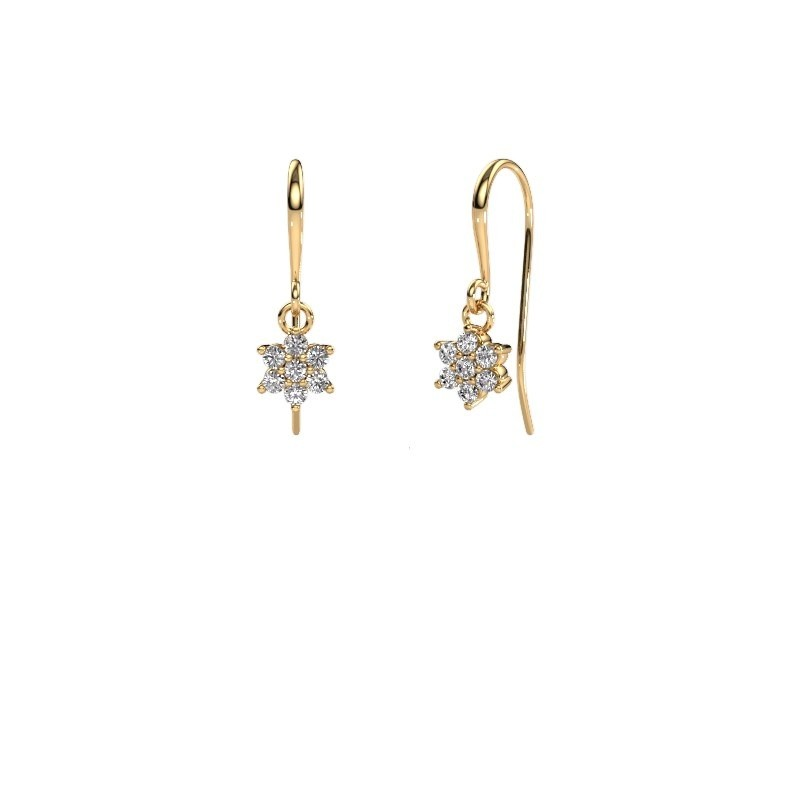 Drop earrings Dahlia 1 375 gold zirconia 1.7 mm