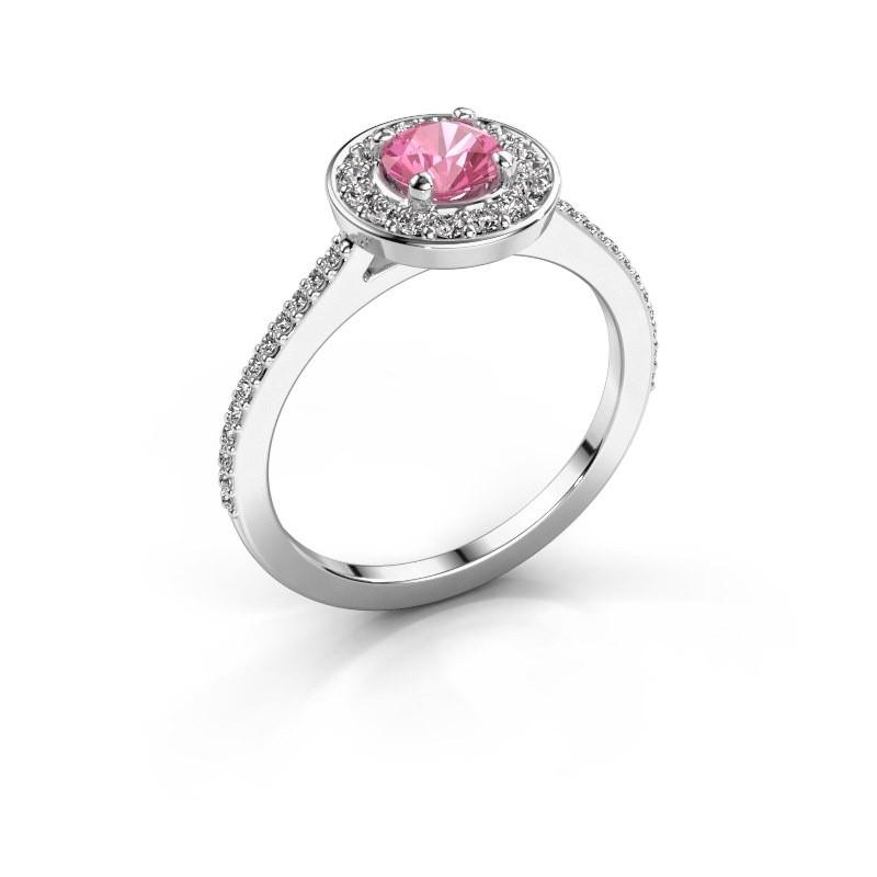 Ring Agaat 2 950 platinum pink sapphire 5 mm