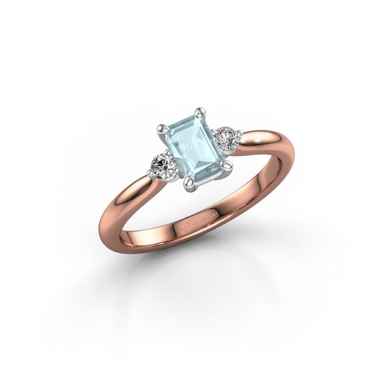 Verlovingsring Lieselot EME 585 rosé goud aquamarijn 6x4 mm