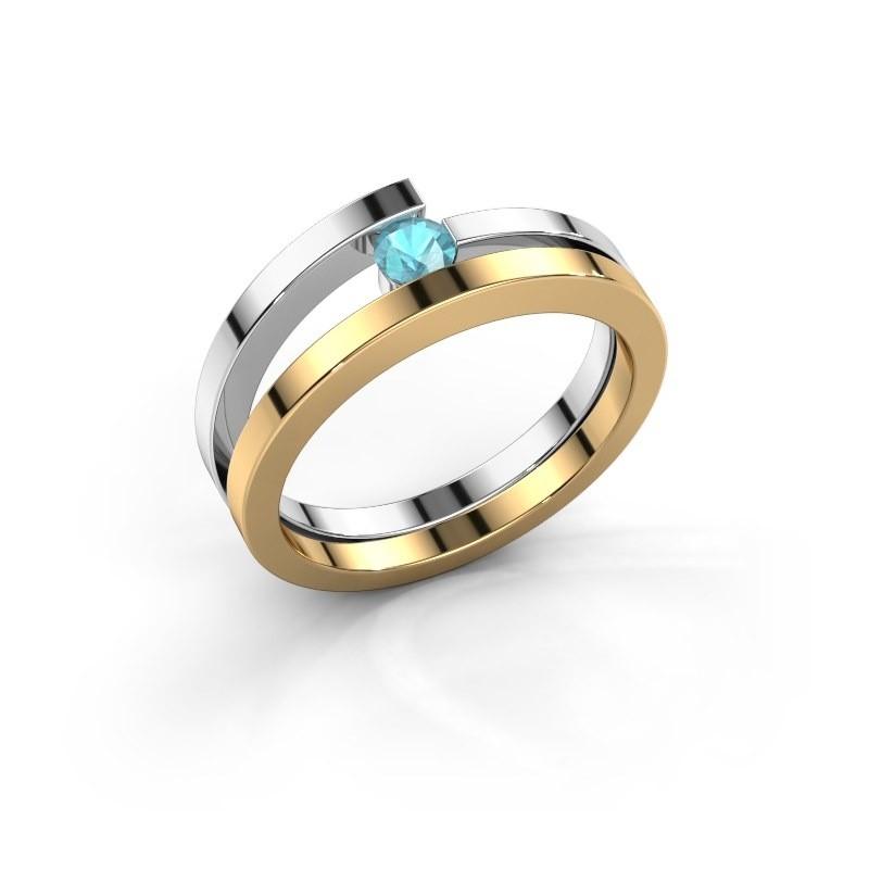 Ring Sandy 585 goud blauw topaas 3.4 mm