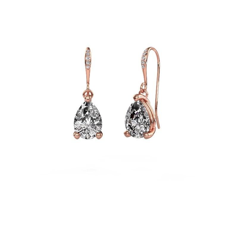 Oorhangers Laurie 2 375 rosé goud diamant 0.65 crt