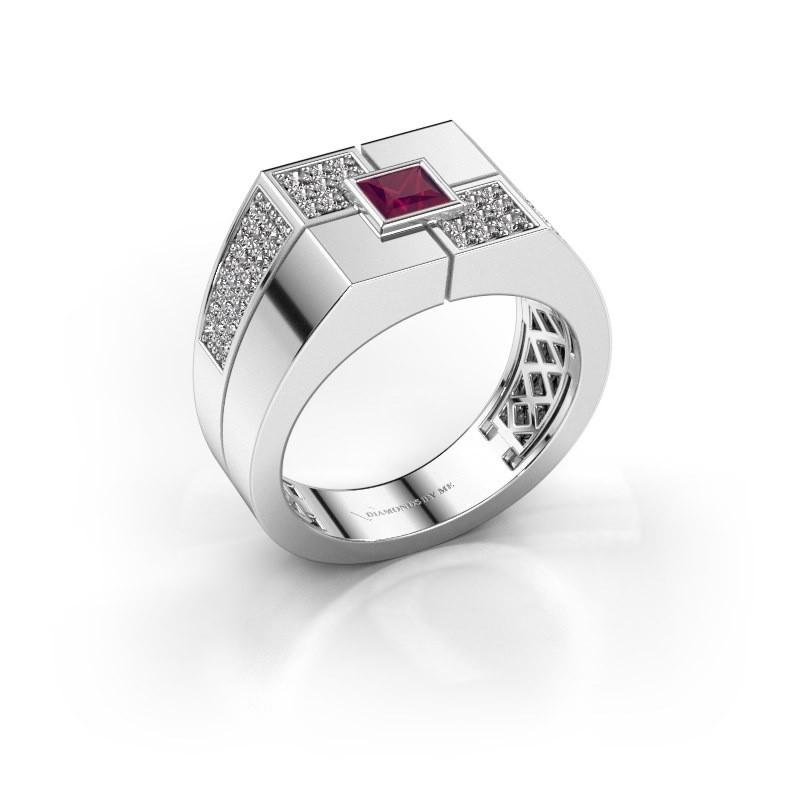 Men's ring Rogier 925 silver rhodolite 4 mm