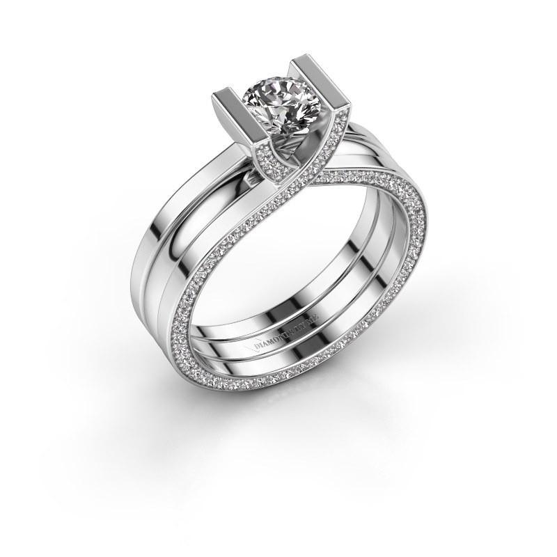 Verlovingsring Kenisha 585 witgoud lab-grown diamant 1.01 crt