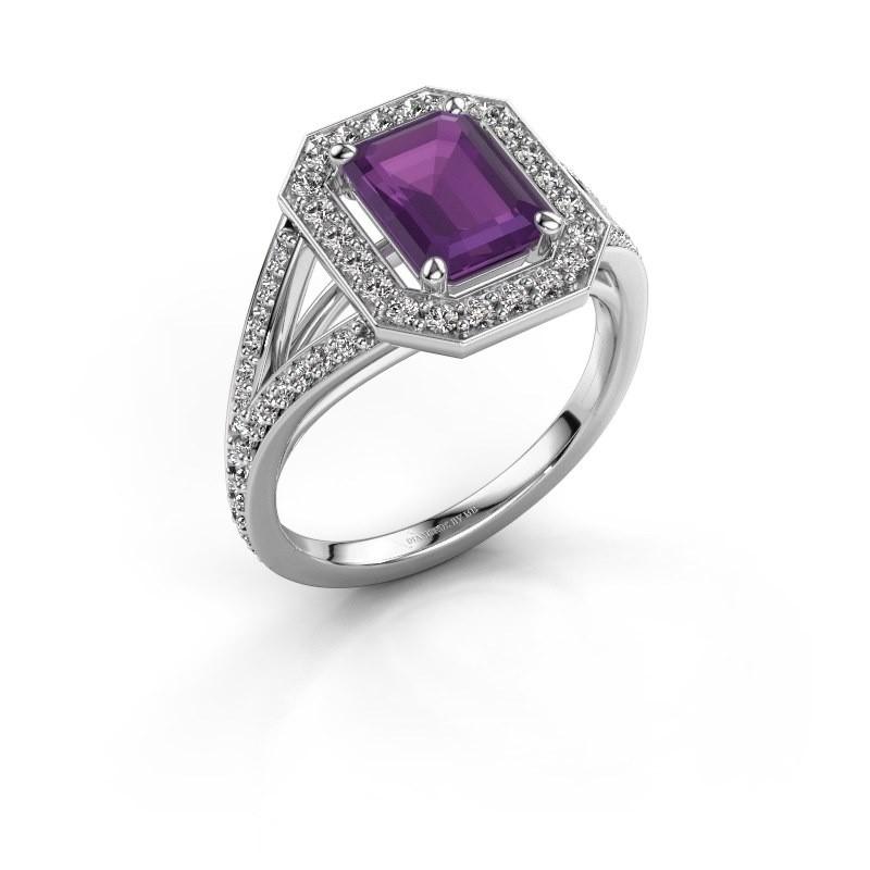 Promise ring Angelita EME 585 witgoud amethist 8x6 mm