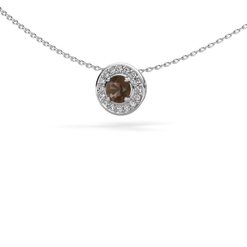 Hanger Agaat 925 zilver rookkwarts 5 mm
