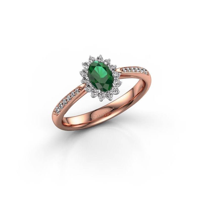 Engagement ring Tilly ovl 2 585 rose gold emerald 6x4 mm