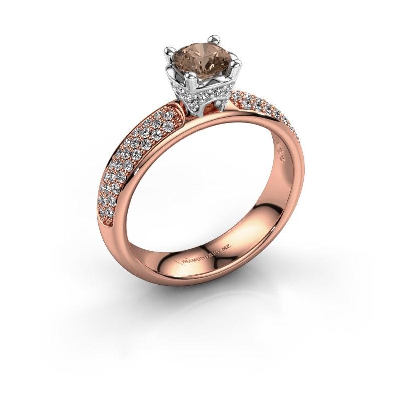 Aanzoeksring Ecrin 585 rosé goud bruine diamant 0.989 crt