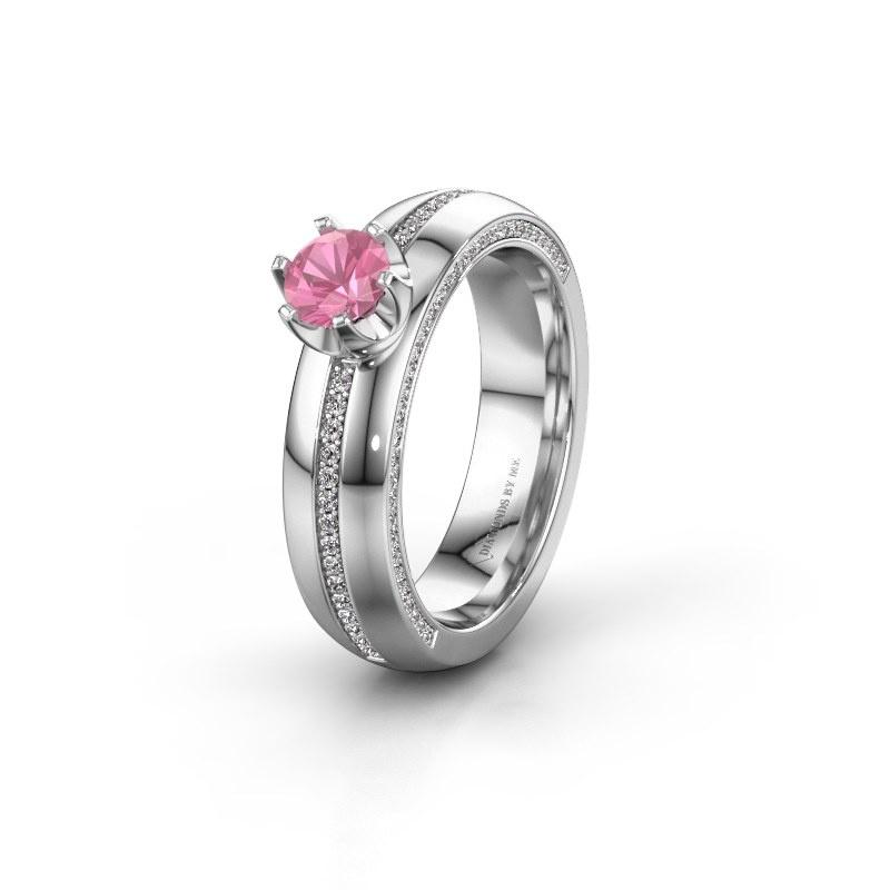 Huwelijksring WH0416L25E 585 witgoud roze saffier ±5x2.6 mm