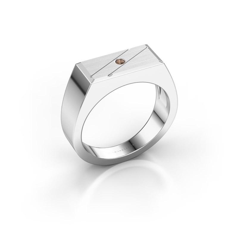 Men's ring Dree 3 585 white gold brown diamond 0.03 crt