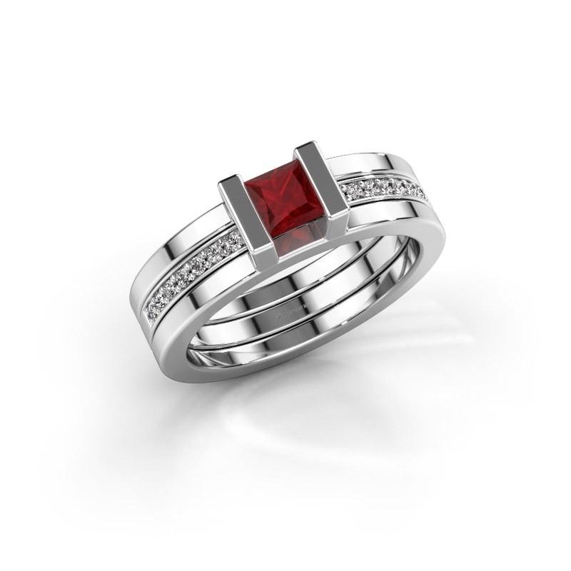 Ring Desire 585 witgoud robijn 4 mm