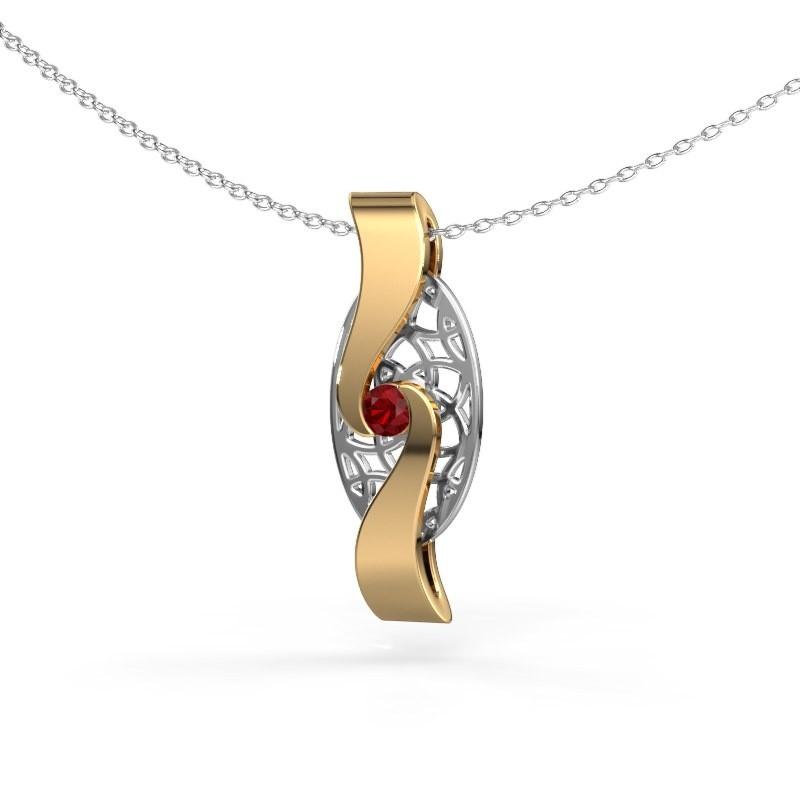 Hanger Darleen 585 goud robijn 3 mm