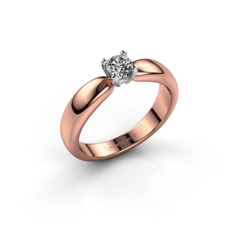 Promise ring Katrijn 585 rose gold zirconia 4.2 mm