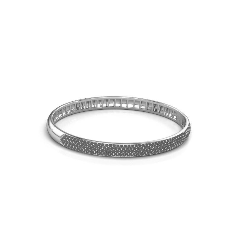 Armband Emely 6mm 585 witgoud zwarte diamant 2.416 crt