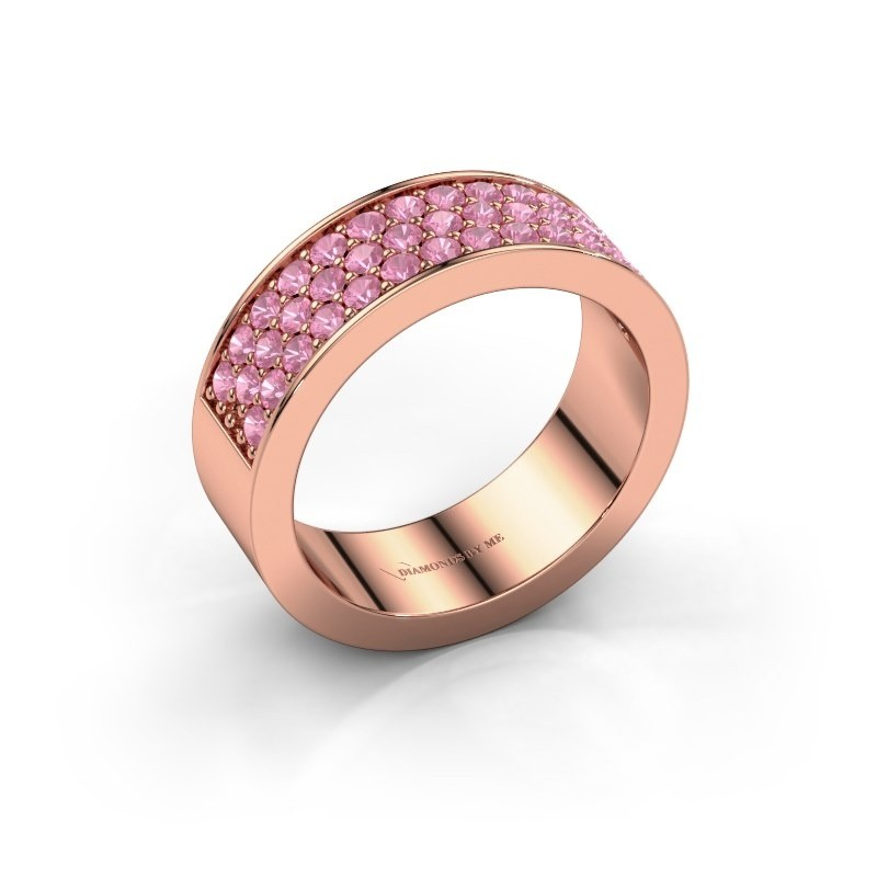 Ring Lindsey 6 375 rosé goud roze saffier 1.7 mm