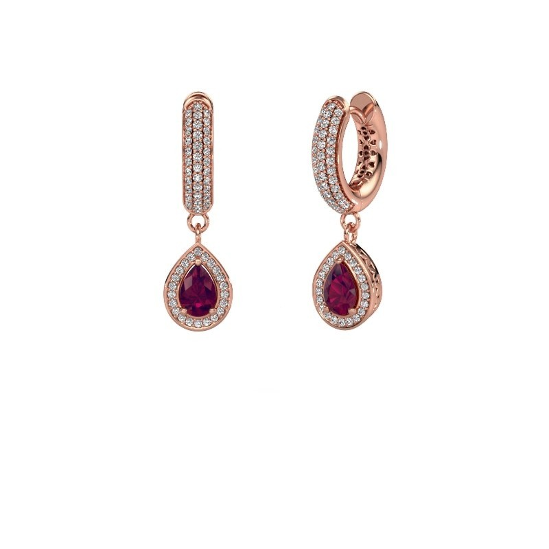 Drop earrings Barbar 2 375 rose gold rhodolite 6x4 mm
