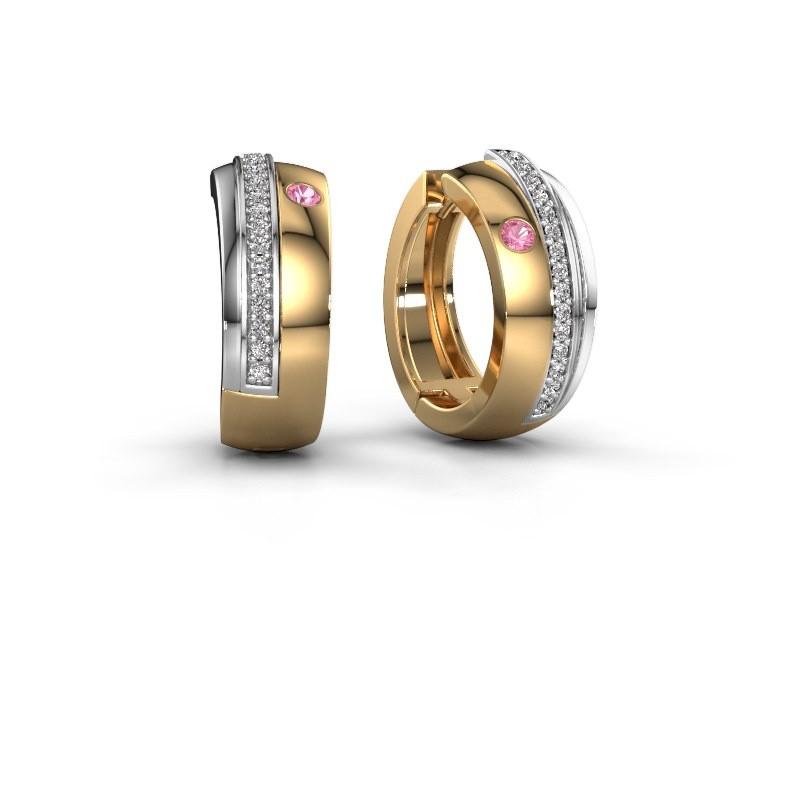 Creolen Shakita 585 goud roze saffier 2 mm