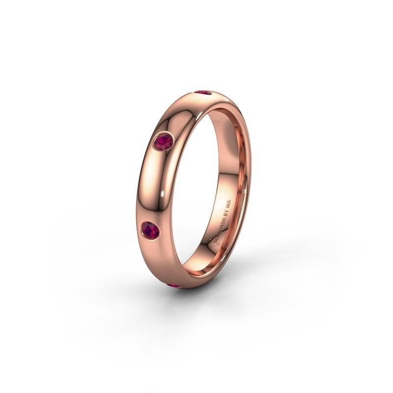 Wedding ring WH0105L34BP 585 rose gold rhodolite ±4x2 mm