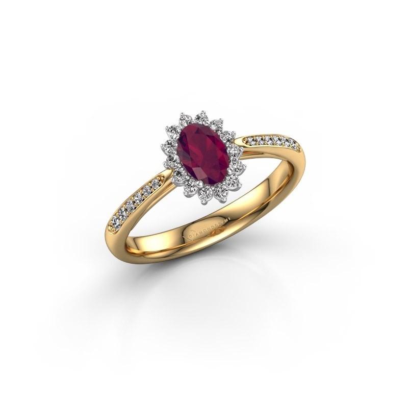 Engagement ring Tilly ovl 2 585 gold rhodolite 6x4 mm