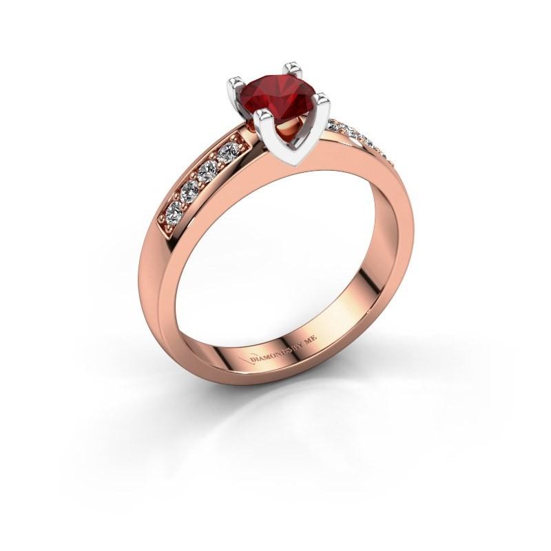 Bague de fiançailles Isabella 2 585 or rose rubis 5 mm