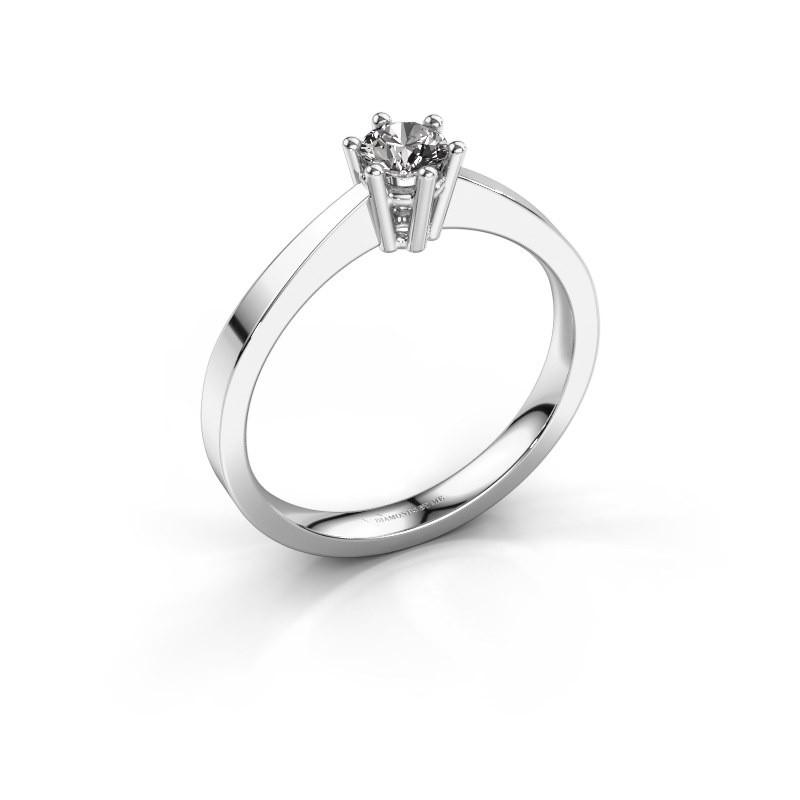Engagement ring Noortje 585 white gold diamond 0.30 crt